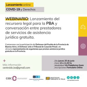Lanzamiento del recursero legal para la PBA y conversación entre prestadores de servicios de asistencia jurídica gratuita