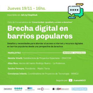 Ciclo de Conversatorios de «Conectividad, igualdad y acceso a derechos»: Segundo encuentro: Brecha digital en barrios populares